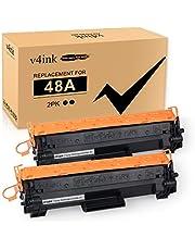 V4ink - Cartucho de tóner compatible con 48 A para HP 48A CF248A para su uso en impresoras HP Laserjet Pro M15w M15a M16w M16a MFP M29w M29a M28w M28a, 2 paquetes, color negro