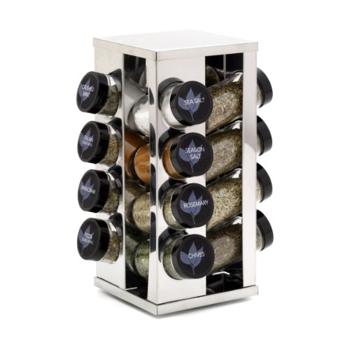 Kamenstein 5084920 Heritage 16-Jar Revolving Countertop Spice Rack Organizer with Free Spice Refills for 5 Years ()