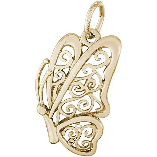 Rembrandt Charms Filigree Butterfly Charm OR Pendant in Gold OR Silver (14Kt Yellow Gold)