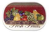"Unique & Custom {12'' x 18'' Inch} Set Pack of 4 Oval ""Flat & Smooth Texture"" Large Table Placemats Made of Flexible Vinyl w/ Fresh Fruits Food Grapes Apple Design [Colorful Red, Brown, Green & Tan]"
