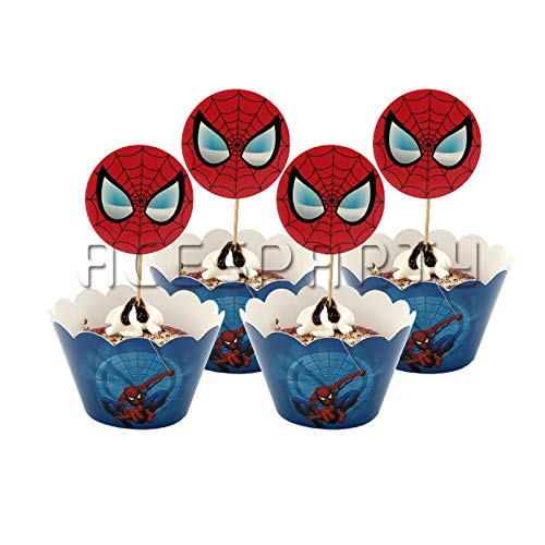 Astra Gourmet Spiderman Cupcake Wrappers with Picks for Superhero Themed Party Decoration Party Favor Supplies -