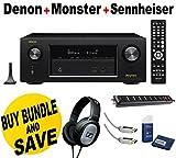 Denon AVR-X2300W Channel Full 4K Ultra HD AV Receiver with Bluetooth + Monster Home Theater Accessory Bundle + Sennheiser HD201 Headphones Bundle