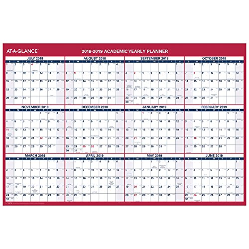 AT-A-GLANCE Academic Wall Calendar, Vertical/Horizontal, Reversible, Erasable, July 2018 - June 2019, 32