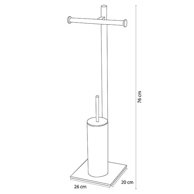 26,3x76x19,7 cm Blanco Metal Sealskin Tube Portarrollos con Escobillero