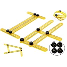 LeadingEJ Angleizer Template Tool For Repetitive Measurement Of All Desired Accurate Angles And Shapes With Inside Metal Screws / Knobs. Improved Quality Angle Ruler For Builders Craftsmen DIY-ers