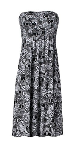 FashionMark Women's Printed Plus Size Aztec Tribal Skull Stripe Floral Animal Leopard Army Print Sheering Top - 13 Colors - Size 6-16 (L/XL (14-16), Skull (Plus Size Tribal Dress)