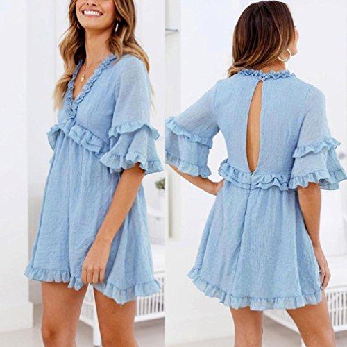 Kleid Sonnenkleid Himmelblau Kingko Strandkleider Geometrisches XiuwlZOPTk