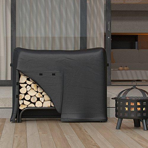 Regal Flame 4 Foot Black Water Resistant Firewood Log Rack Cover (Steel Chimenea)