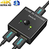 HDMI Switcher, Cingk HDMI Bi-directional 1x2 2x1 AB Switch Splitter Hub-HDCP Passthrough-Supports Ultra HD 4K 3D 1080P