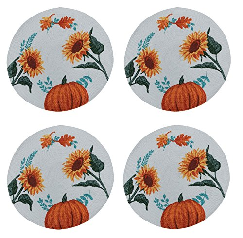 Sunflowers Braided Cotton - Harvest Delight Sunflowers Pumpkin Braided Placemats Kitchen or Dining Set of 4
