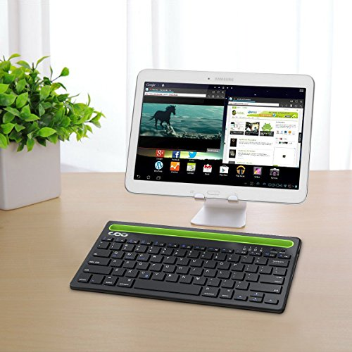 Bluetooth keyboard, Dual Channel Multi-device Universal Wireless Bluetooth Rechargeable Keyboard with Sturdy Stand for Tablet Smartphone PC Windows Android iOS Mac(Silver) by COO (Image #1)