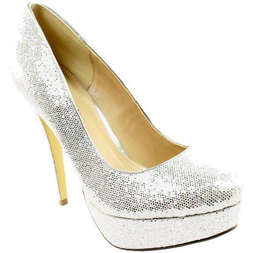 Womens Sequin High Heel Platform Office Work Court Shoes Silver sMksAr