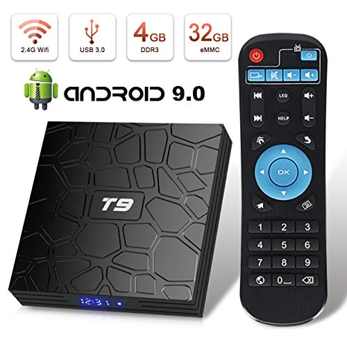 Android TV Box, HAOSIHD T9 Android 9.0 TV Box, 4GB RAM 32GB ROM RK3328 Quad-core, Support 4K Full HD 2.4Ghz WiFi BT 4.1 Smart TV Box