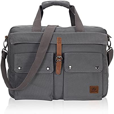 Hynes Eagle Veegul Multifunctional Canvas Laptop Bag 15.6 inch Grey