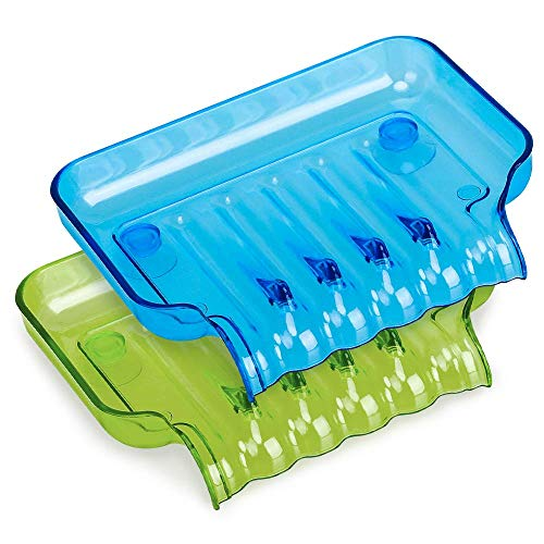 (LIKE company Waterfall Soap Dish Drain Soap Saver Candy Color Soap Holder Plastic Soap Tray with Suction Cup for Kitchen Sink Countertop - 2 Color, Mixing (Blue & Green))