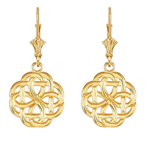 10k Yellow Gold Triquetra Celtic Trinity Dangle Earrings