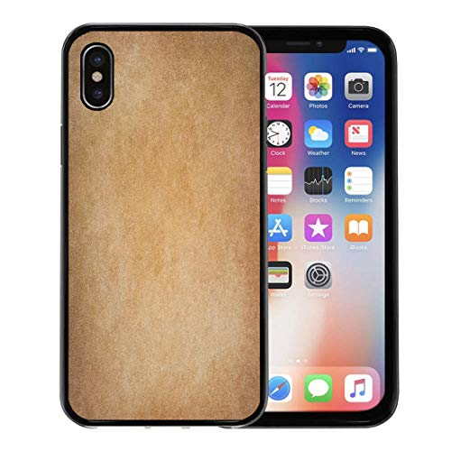 (Semtomn Phone Case for Apple iPhone Xs case,Tan Sepia Faded Light Brown Parchment Wall Canvas Grainy Vintage Abstract for iPhone X Case,Rubber Border Protective Case,Black)