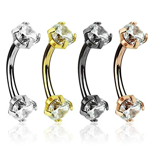 4PC Lot Double Jeweled Prong CZ Internally Threaded Steel Eyebrow Ring Curved Barbells