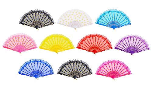 Amajiji Folding Hand Fans,Fashion Elegant Flower Rose Lace Chinese/Japanese Folding Fan (10PCS (Mixed Colors))