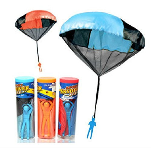 Dmeiling Cordless Toys Parachute Soldiers Men Skydiving Children Hand Drop Parachute Classic Operation Parachuting Toys Set Kites Outdoor Play Game Toys 2pcs ()
