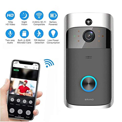 Mengen88 WiFi Video Doorbell Camera,720P HD Night Vision Security Camera Real Time Video Two-Way Audio Intercom, PIR Motion Detection,Suitable for Home,Office Doorbell,Black