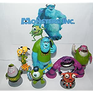 Disney Monsters Inc Deluxe Party Favors Goody Bag Fillers Set of 7 Figures with Mike Wazowski, Sulley, Art, two headed…