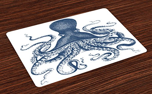 Ambesonne Octopus Place Mats Set of 4, Majestic Sea Creature Artistic Illustration with Grunge Effect Underwater Life, Washable Fabric Placemats for Dining Room Kitchen Table Decor, Blue (Printed Placemat)