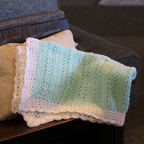 Cro-Kits Silky Soft Mint with White Border Baby Blanket Crochet Kit Complete with Yarn, Crochet Hook, Weaving Needle and Easy to Follow Instructions.