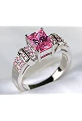 Gy Jewelry Princess Pink Sapphire Cz White Gold Filled Women's Wedding Ring Engagement Gifts