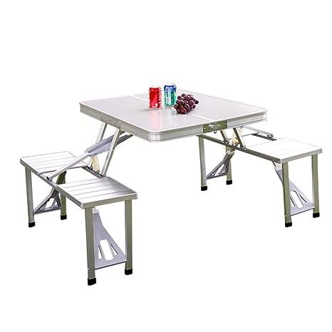 Amazon.com: Juego de mesa y silla plegables de aluminio ...