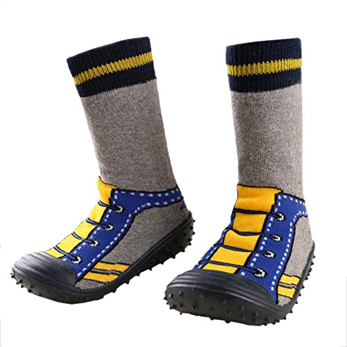 Fire Frog Infant Baby Cartoon Patterned Soft Rubber Bottom Anti-Slip Floor Socks Boots Shoelace 18-24M