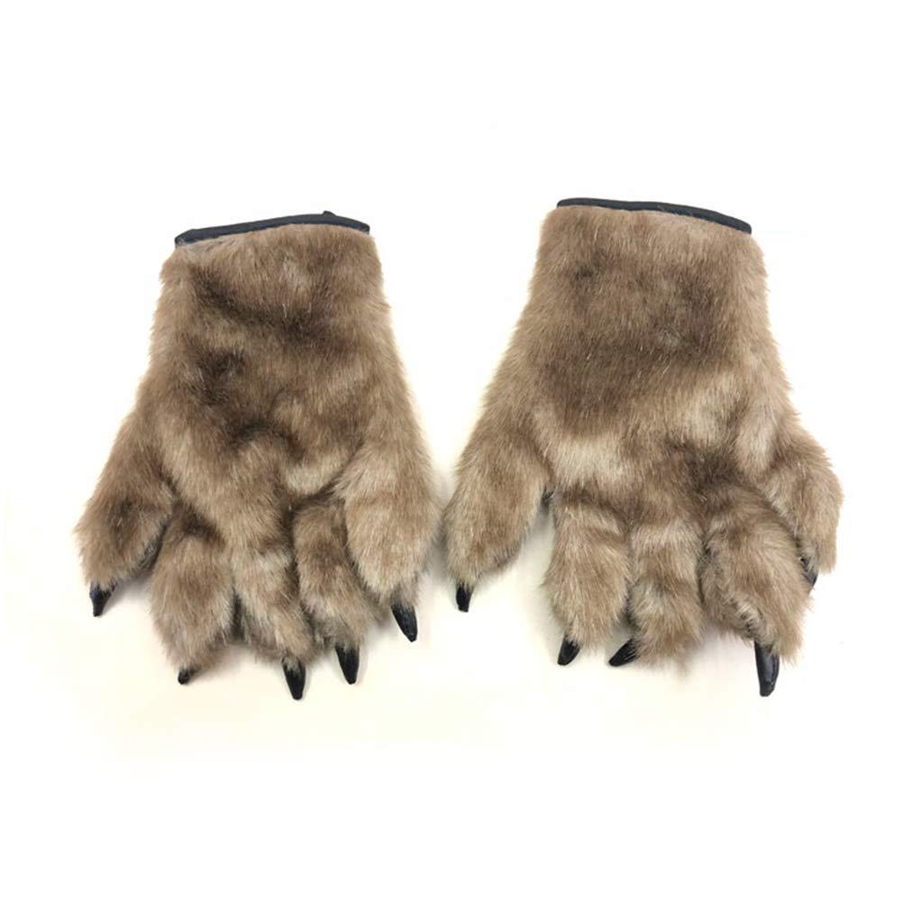 BESTOYARD Halloween Cosplay Gloves Bear Paw Claw Gloves Fancy Animal Costume Accessories 1 Pair