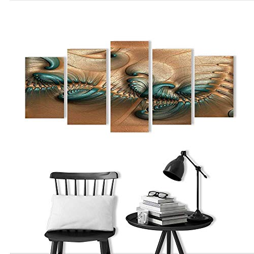 5 Pieces Modern Wall Art Decor Frameless Tile with Embossed Fractal on Leather for Home Print Decor for Living Room