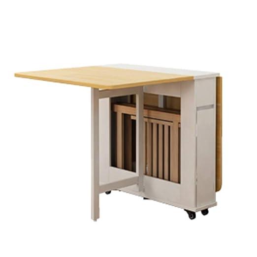 Mesa plegable de madera maciza, mesa de cocina con estante de ...