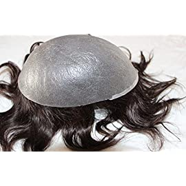 Human Hair Toupee 7×9 Inches Thin Skin Full Pu Toupee Men Hair Piece System (Color 2)