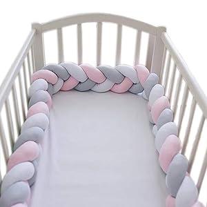 LOAOL Baby Bed Bumper Knotted Braided Plush Nursery Cradle Decor Newborn Gift Pillow Cushion Junior Bed Sleep Bumper (White-Gray-Pink, 9.8 Feet)