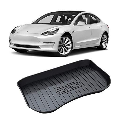 Hamkaw Tesla Model 3 Accessories Front/Rear Trunk Floor Mat Suitable for All Tesla Model 3 (Black)