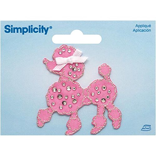 Wrights Jeweled Pink Poodle with Rhinestones Iron-On Applique, 2 by 2-1/4-Inch, 1-Pack