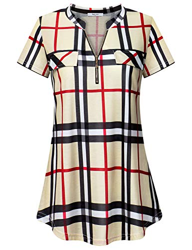 Diphi LiLi Womens Casual Long Sleeve Tartan Blouse Zip up Plaid Tunic Shirt (Beige Plaid, X-Large)