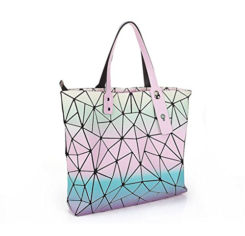 Silver 4 Summer Joint Split Plaid Handbags Bags Flada Ladies Colorful Geometric Hologram Tote O7OZPw