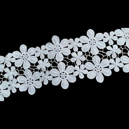 MOPOLIS Lace Trim Flower Trimming Ribbon Wedding Applique DIY Sewing Crafts White 1Yd | Main Size - Width 11cm