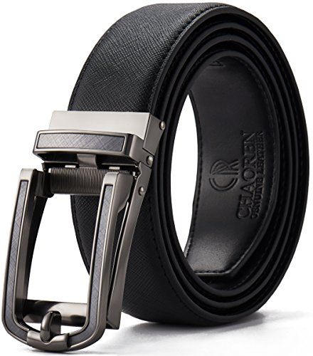 Ratchet Click Belt Custom Fit with Automatic Sliding Buckle in a Gift Box-Mens Belt with Comfort Genuine Leather Strap(28