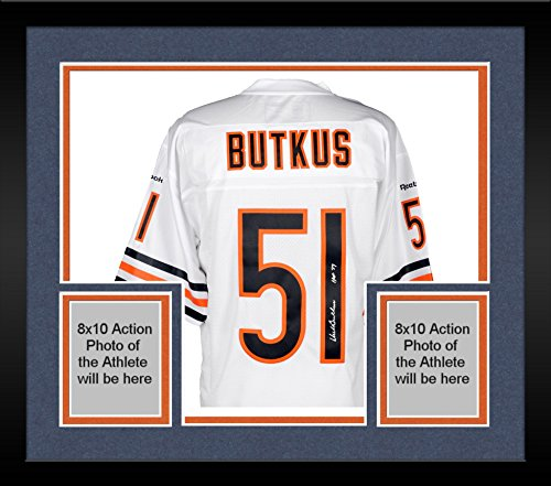 """Framed Dick Butkus Chicago Bears Autographed White Reebok EQT Jersey with""""HOF 79"""" Inscription - Fanatics Authentic Certified"""