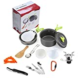 Camping Cookware Set, iDeep 15pcs Lightweight Cooking Pot Pan Cook Set with Cook Stove Canister Stand Folding Spoon Kit Waiters Corkscrew Carabiner For Hiking Backpacking Camping