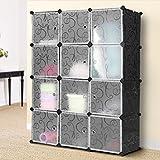 #9: KOUSI Portable Storage Shelf Cube Shelving Bookcase Bookshelf Cubby Organizing Closet Toy Organizer Cabinet, Black, 12 Cubes