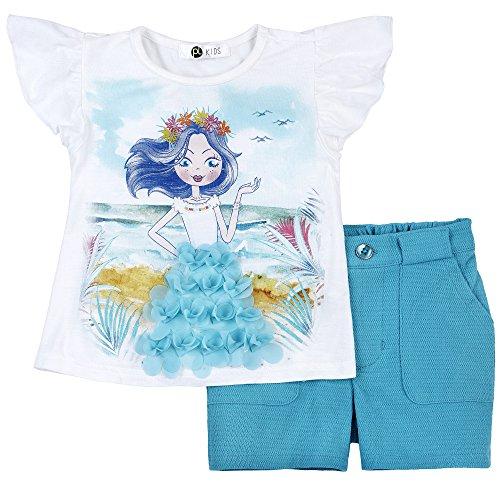 (Petit Lem Little Tahiti Paradise Girl 2pc Set Top and Shorts Knit, 100 6)