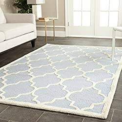 Safavieh Cambridge Collection CAM134A Handcrafted Moroccan Geometric Light Blue and Ivory Premium Wool Area Rug (5' x 8')