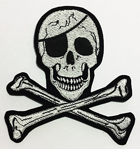 Pirate Crossbones Skull DIY Applique Embroidered Sew Iron on Patch (Pirate Iron On Patch)