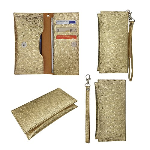 Fastway Pu Leather Pouch Wallet Case Cover for Huawei Honor Holly 2 Plus Gold