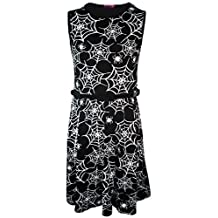 New Girls Spider Web Skater Dress Black Party Halloween Belt Age Size 7-13 Years